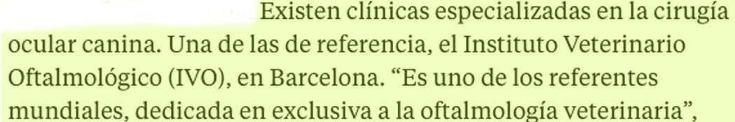 Cita en La Vanguardia sobre IVO como referente mundial en oftalmología veterinaria